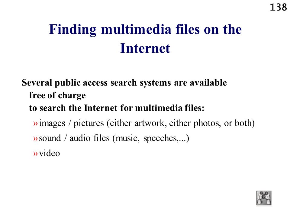 Finding multimedia files on the Internet