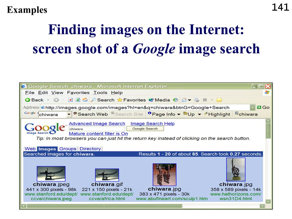 Finding images on the Internet: screen shot of a Google image search