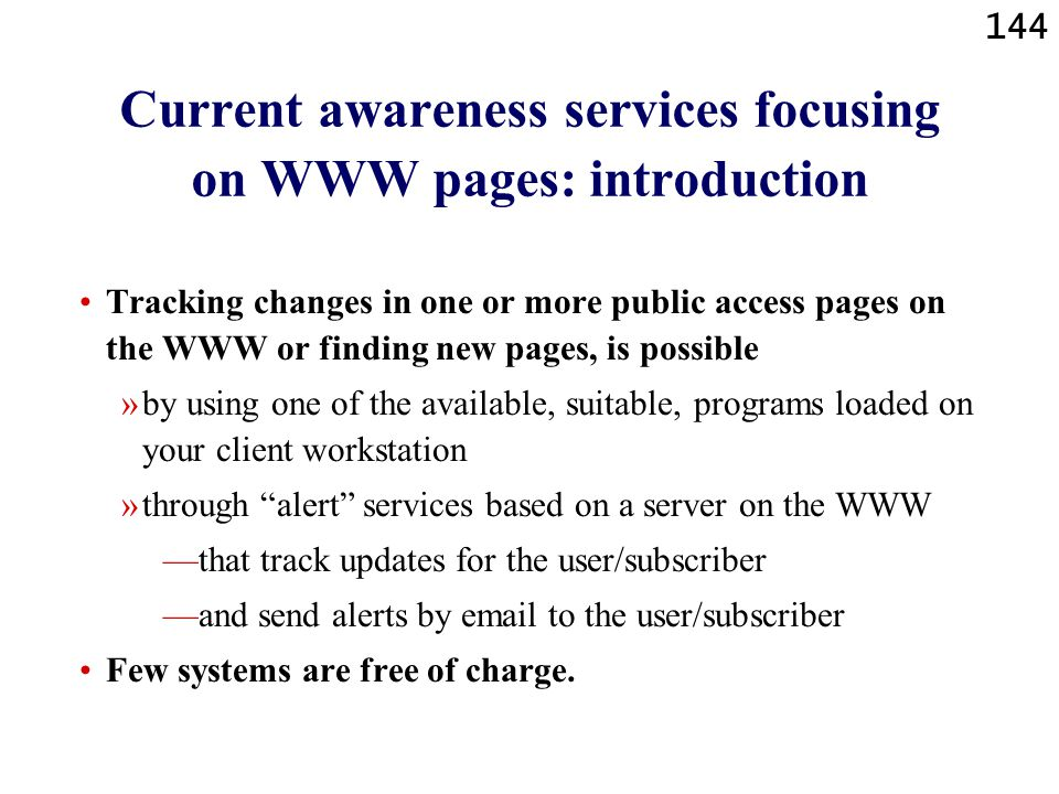 Current awareness services focusing on WWW pages: introduction