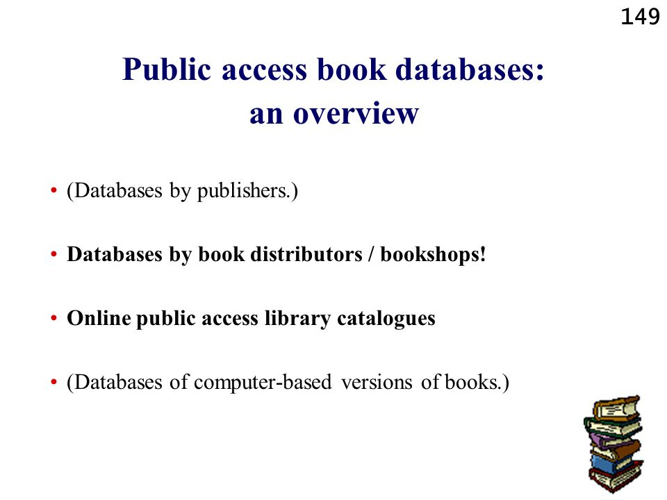 Public access book databases: an overview