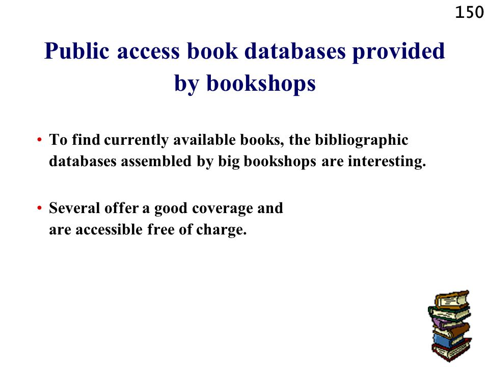 Public access book databases provided by bookshops