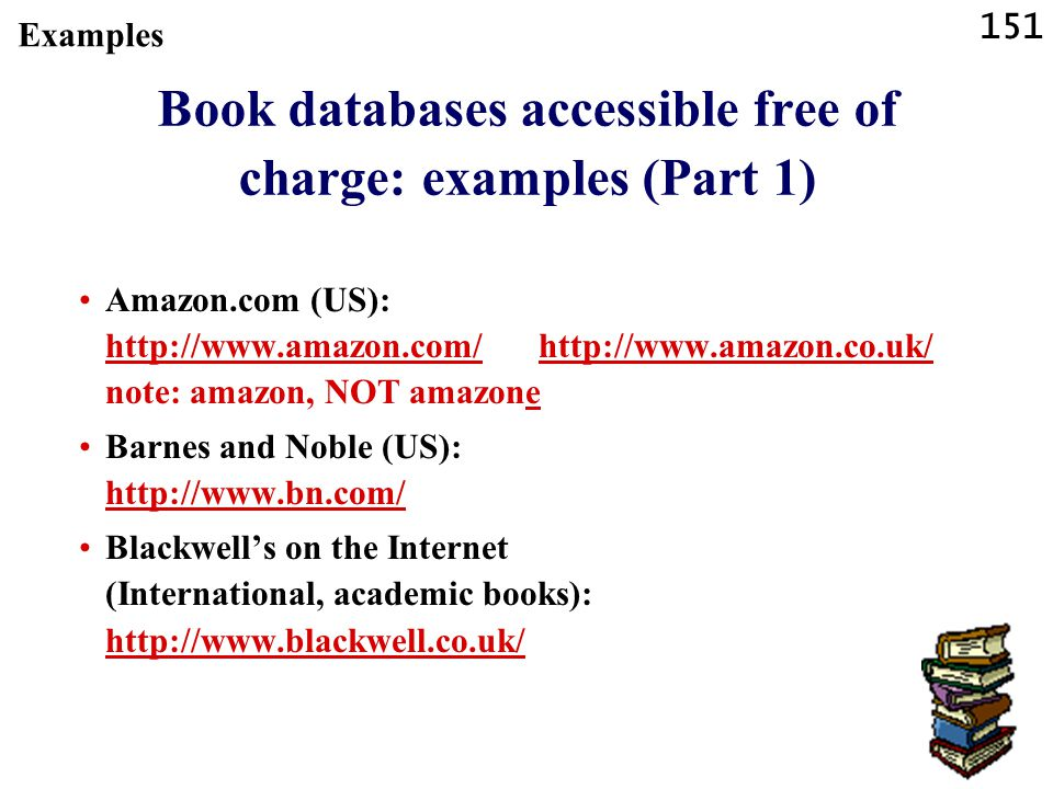 Book databases accessible free of charge: examples (Part 1)
