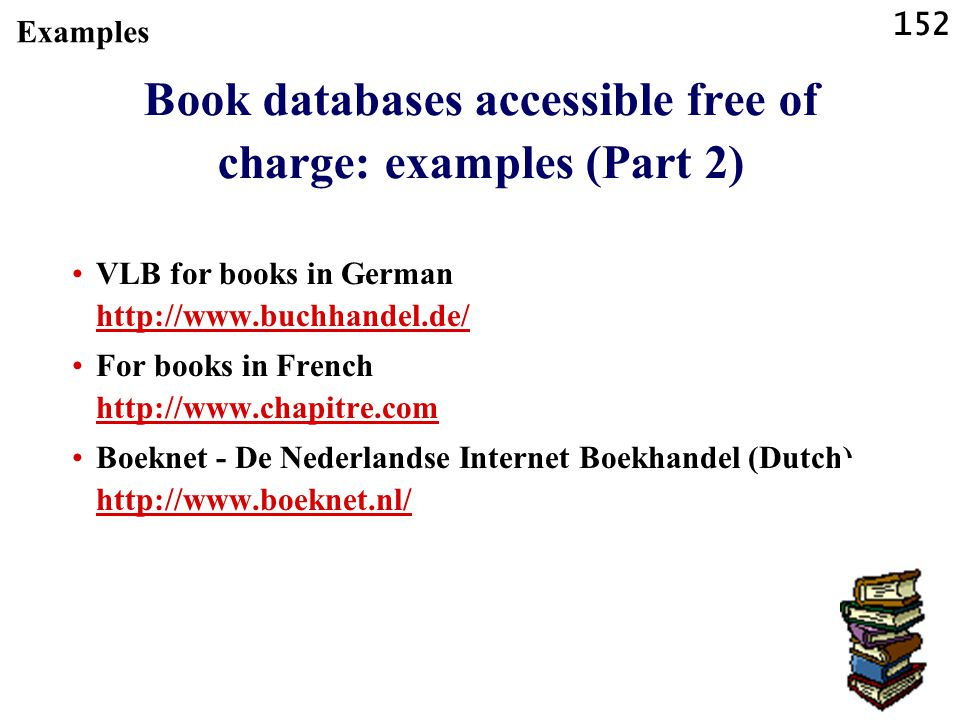 Book databases accessible free of charge: examples (Part 2)