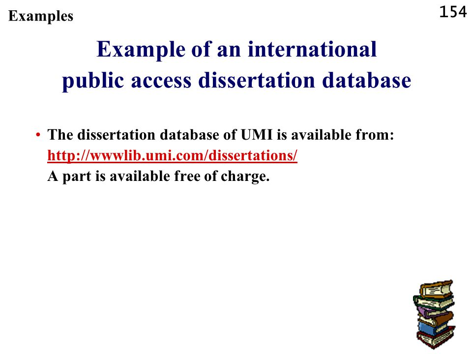 Example of an international public access dissertation database