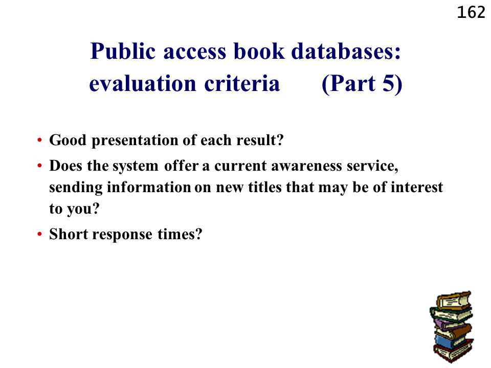 Public access book databases: evaluation criteria (Part 5)