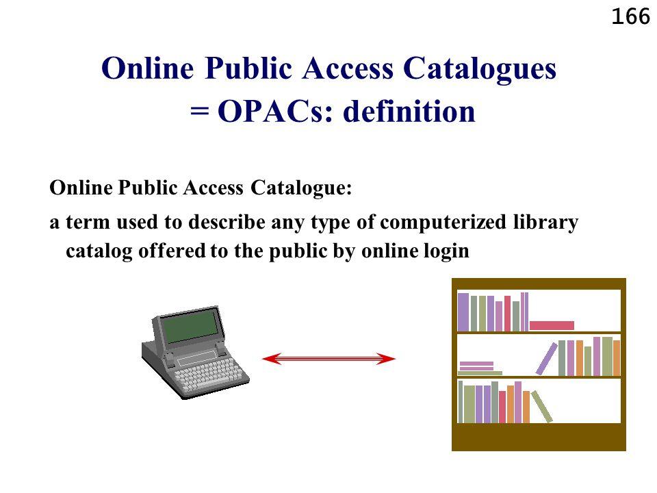 Online Public Access Catalogues = OPACs: definition