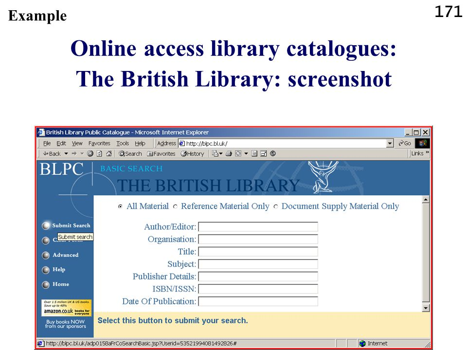 Online access library catalogues: The British Library: screenshot