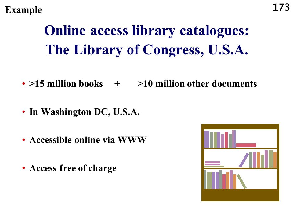 Online access library catalogues: The Library of Congress, U.S.A.