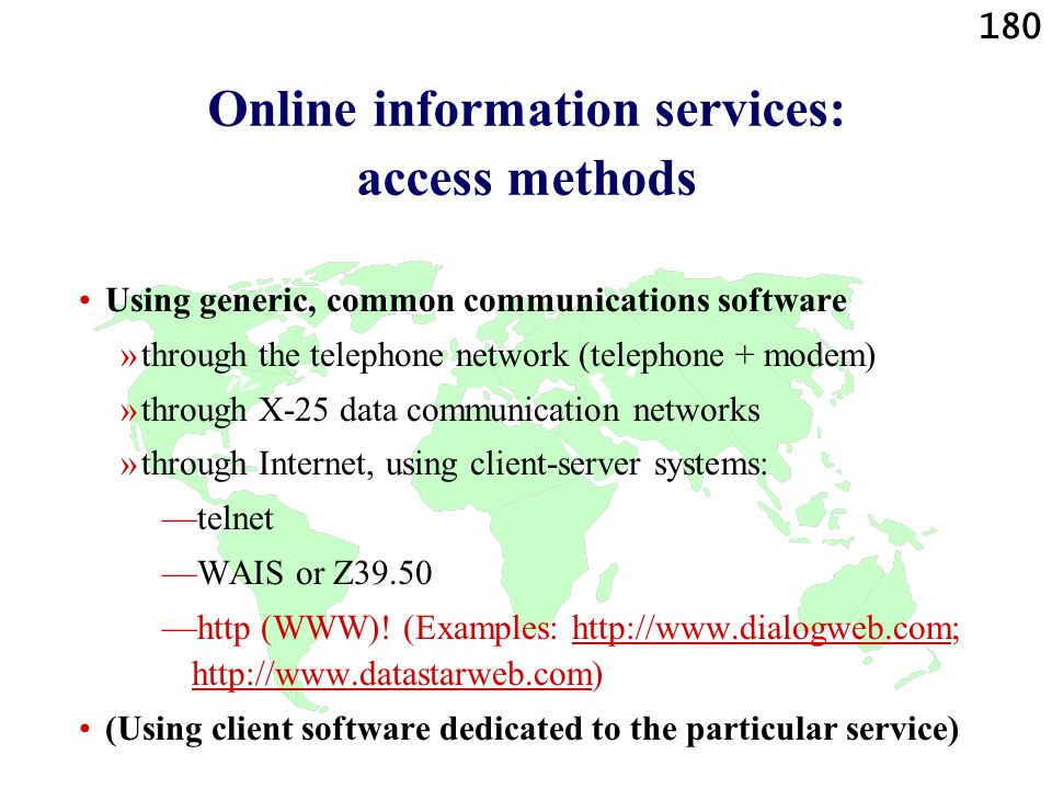 Online information services: access methods