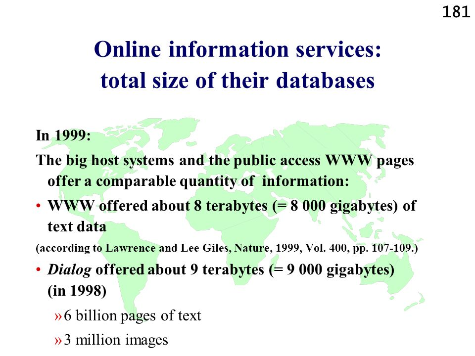 Online information services: total size of their databases