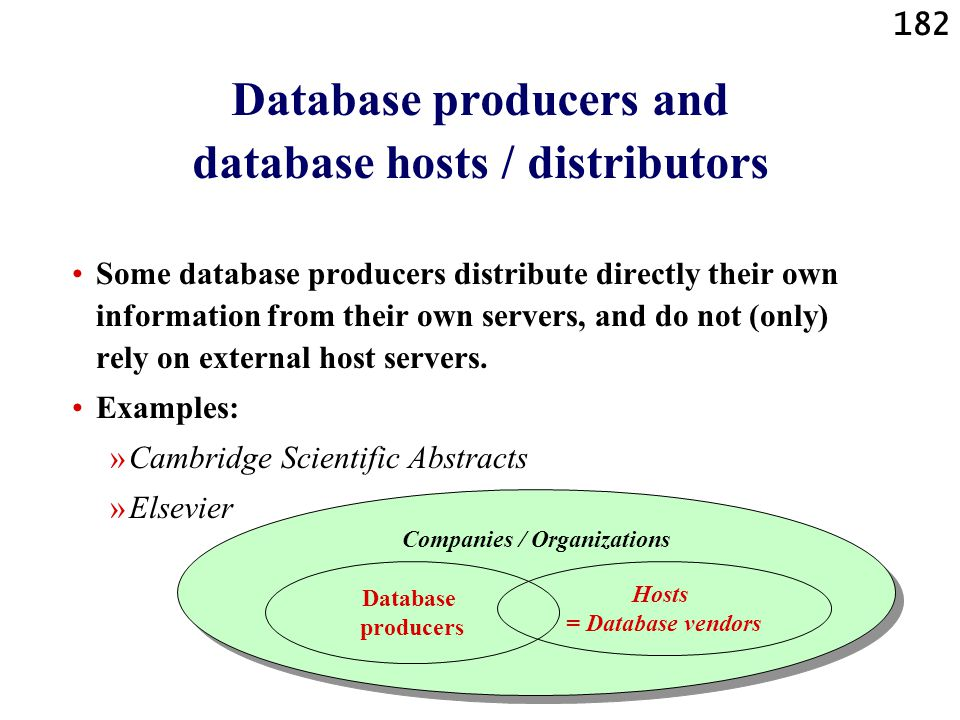 Database producers and database hosts / distributors