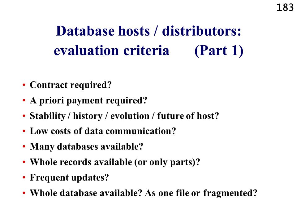 Database hosts / distributors: evaluation criteria (Part 1)