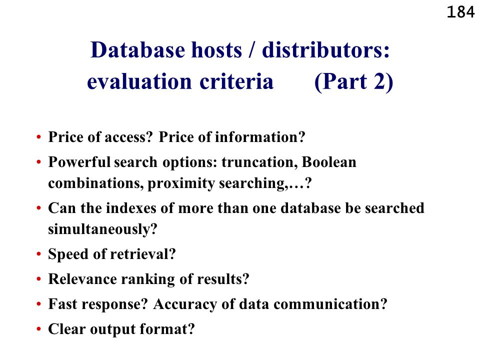 Database hosts / distributors: evaluation criteria (Part 2)
