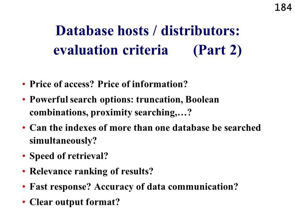 Database hosts / distributors: evaluation criteria (Part 2)