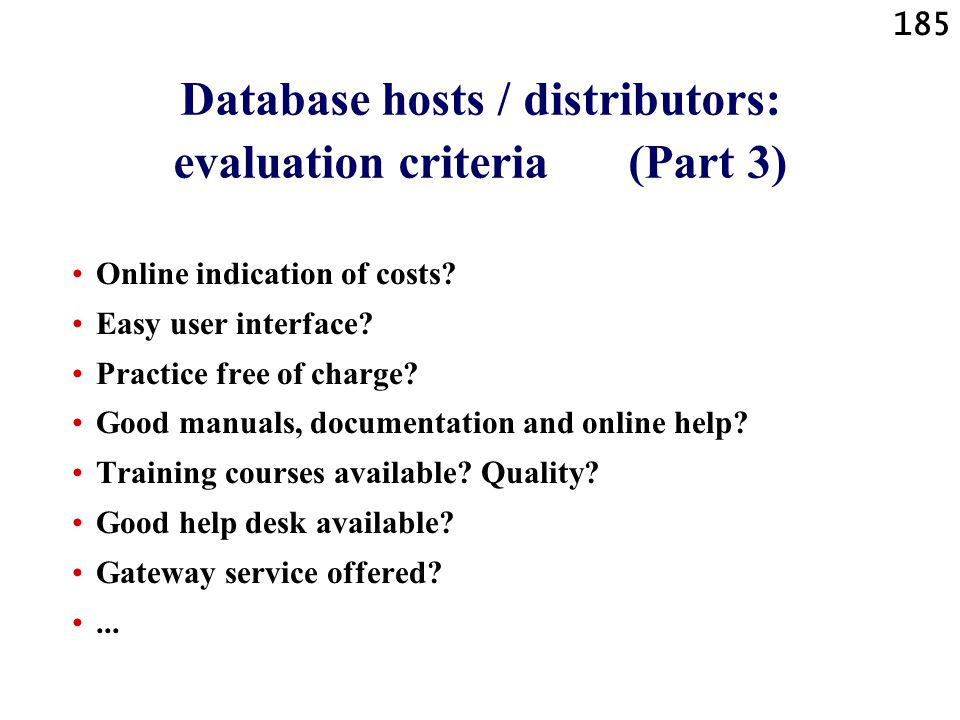Database hosts / distributors: evaluation criteria (Part 3)
