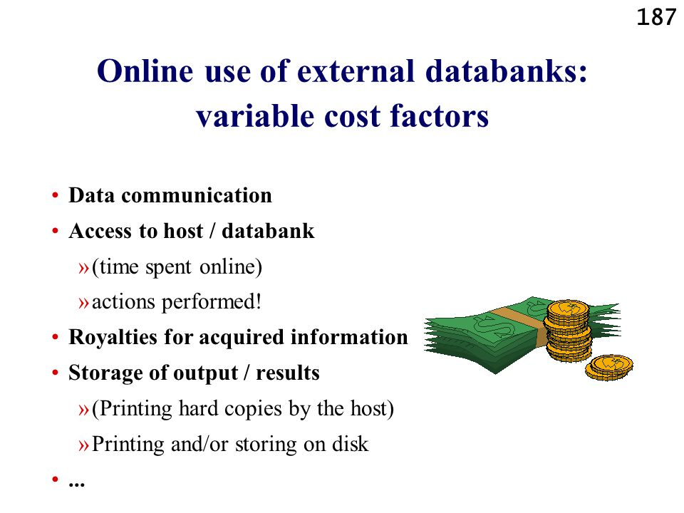 Online use of external databanks: variable cost factors