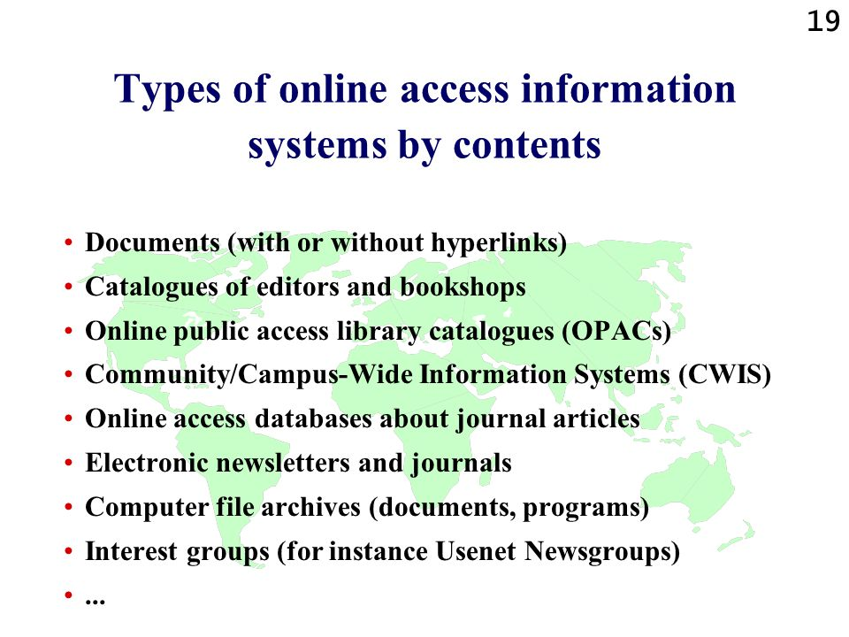 Types of online access information systems by contents