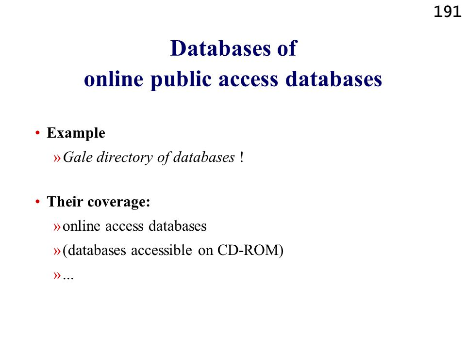 Databases of online public access databases