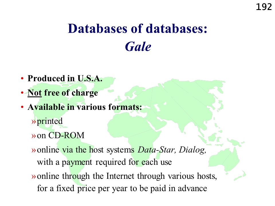 Databases of databases: Gale