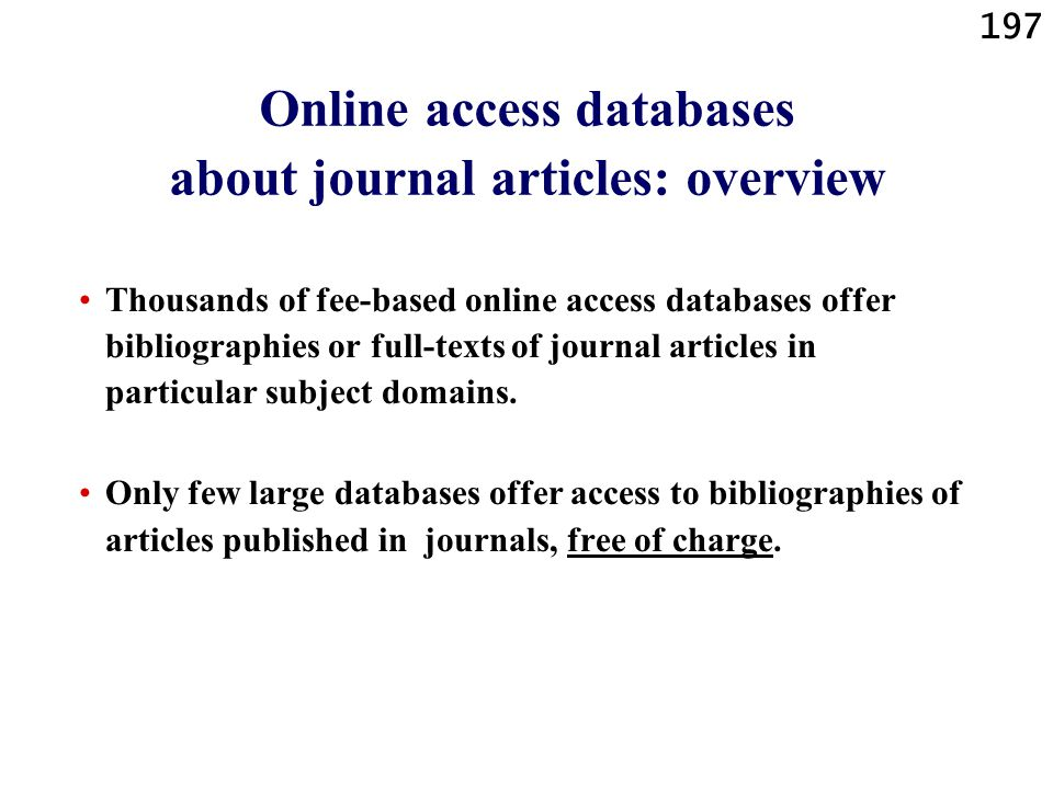 Online access databases about journal articles: overview