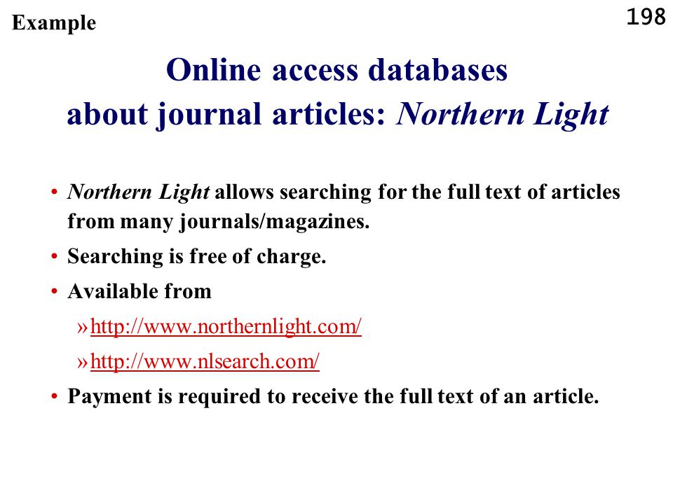 Online access databases about journal articles: Northern Light