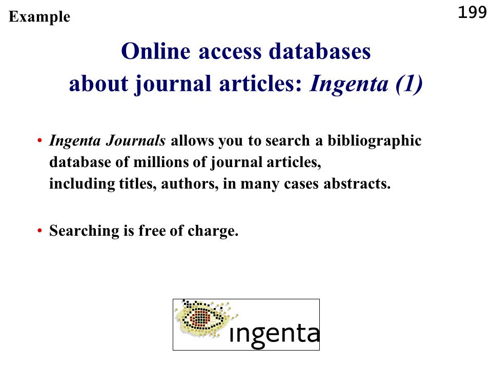 Online access databases about journal articles: Ingenta (1)