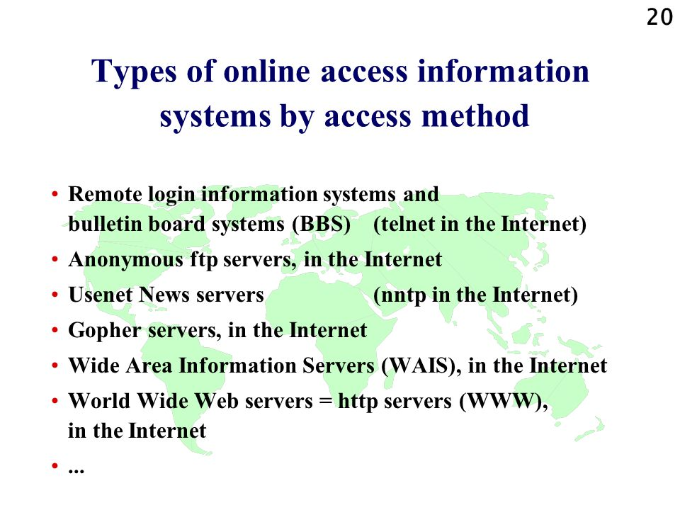 Types of online access information systems by access method