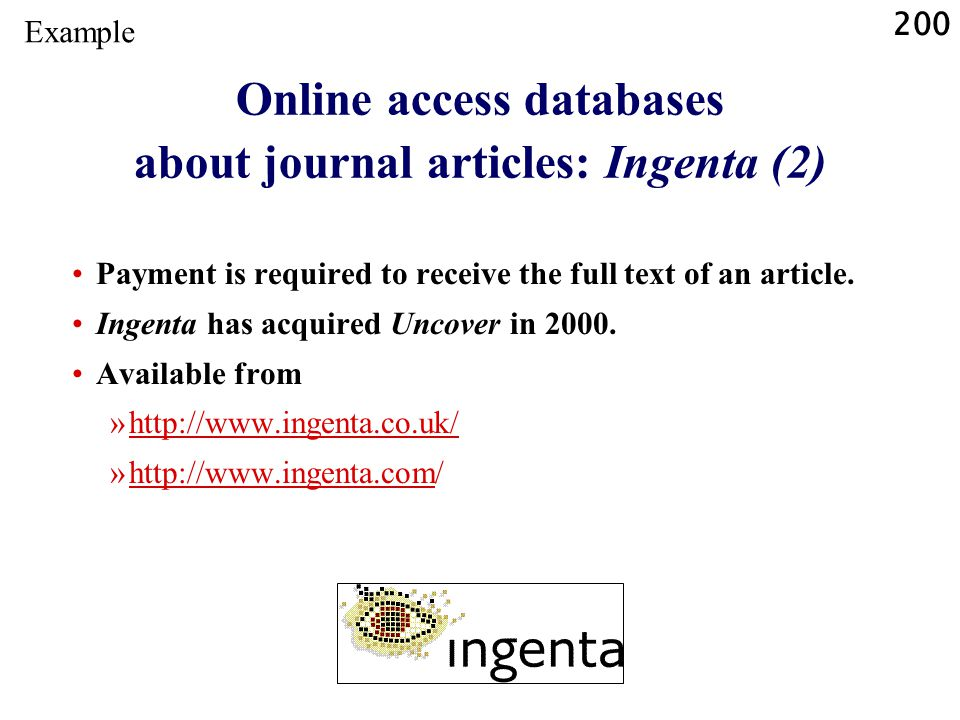 Online access databases about journal articles: Ingenta (2)