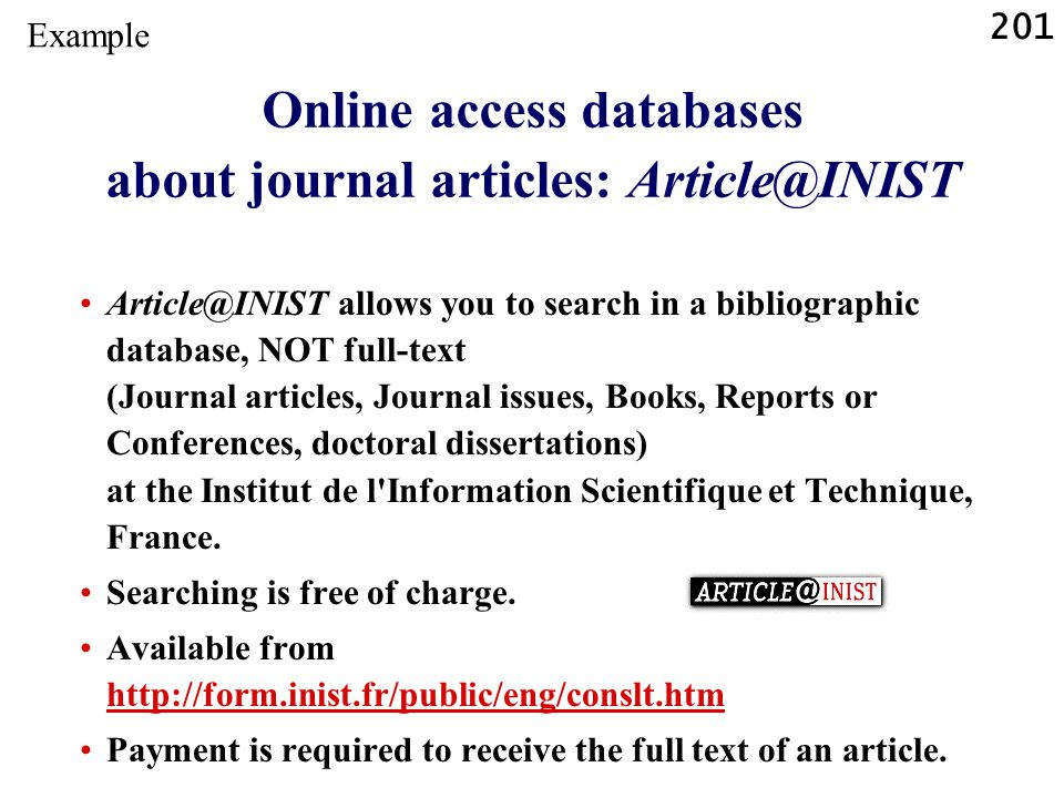 Online access databases about journal articles: Article@INIST
