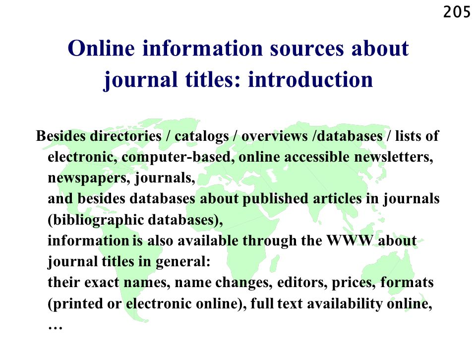Online information sources about journal titles: introduction