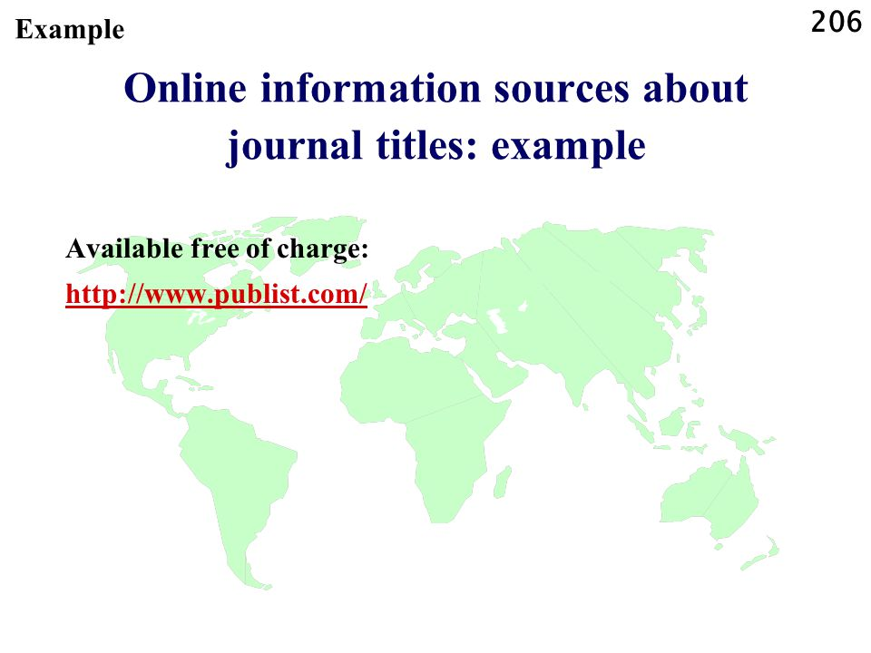 Online information sources about journal titles: example