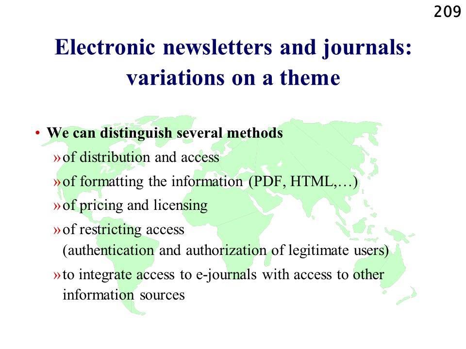 Electronic newsletters and journals: variations on a theme