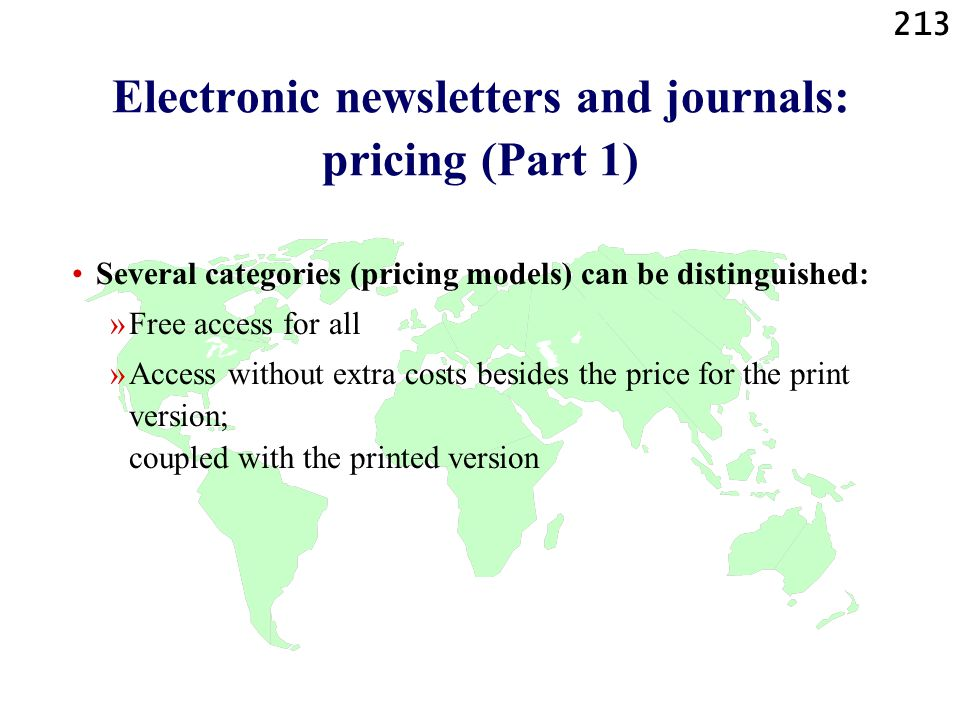Electronic newsletters and journals: pricing (Part 1)