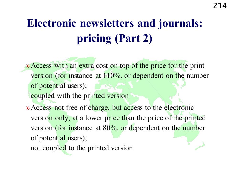 Electronic newsletters and journals: pricing (Part 2)