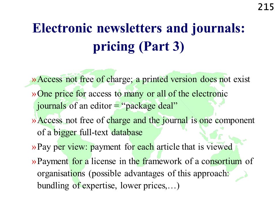 Electronic newsletters and journals: pricing (Part 3)