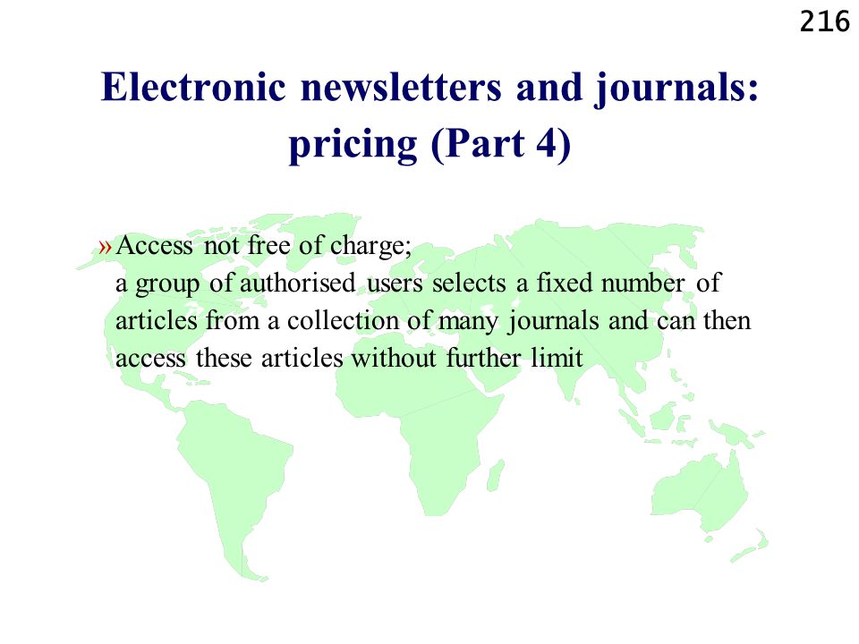 Electronic newsletters and journals: pricing (Part 4)