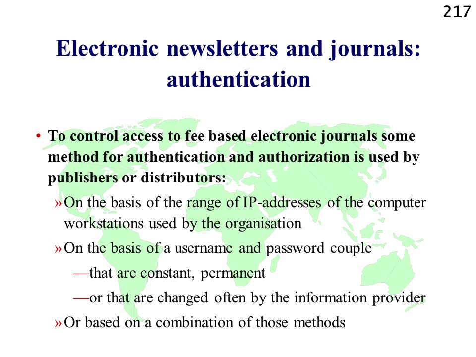 Electronic newsletters and journals: authentication