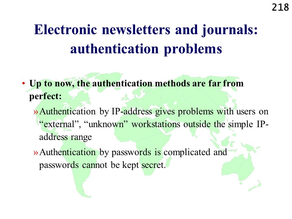 Electronic newsletters and journals: authentication problems