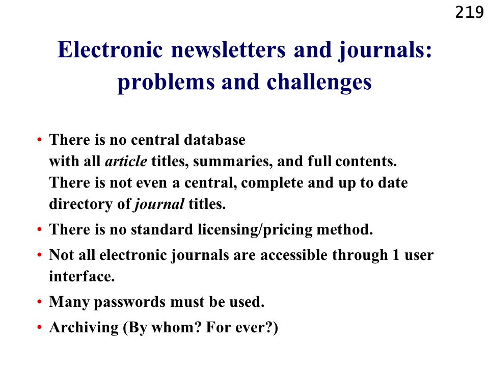 Electronic newsletters and journals: problems and challenges