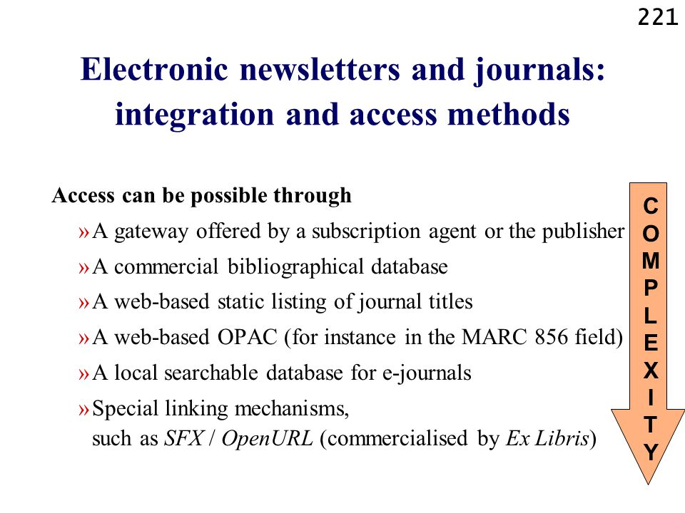 Electronic newsletters and journals: integration and access methods