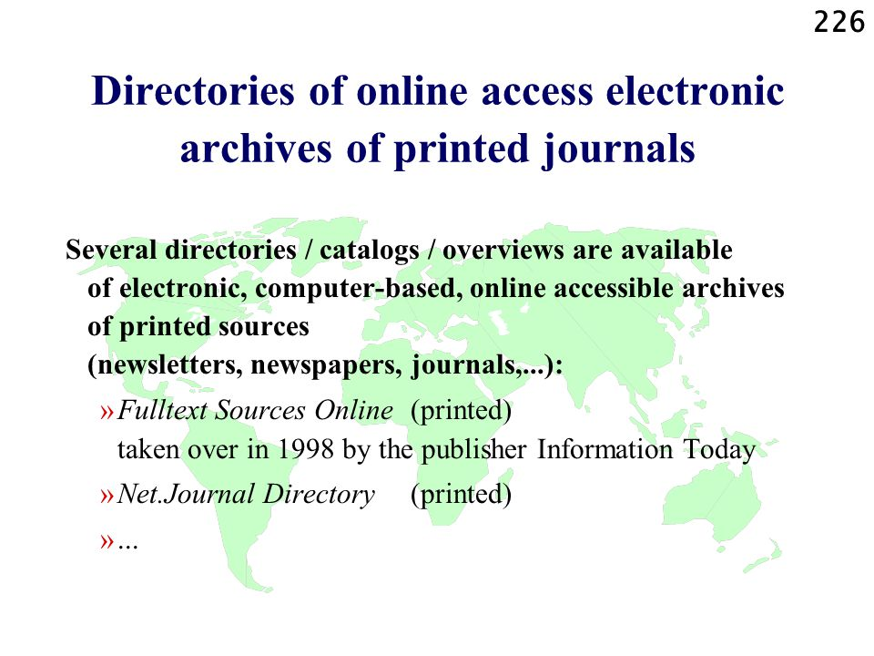 Directories of online access electronic archives of printed journals