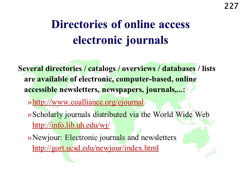 Directories of online access electronic journals