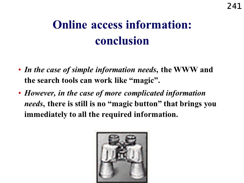 Online access information: conclusion