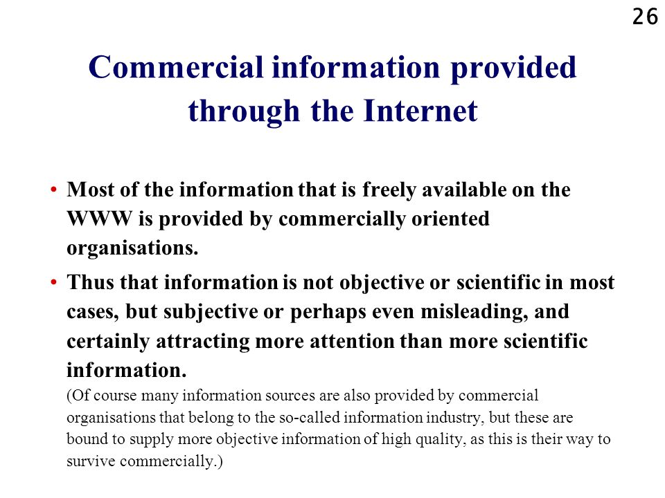 Commercial information provided through the Internet