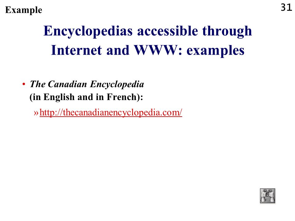 Encyclopedias accessible through Internet and WWW: examples