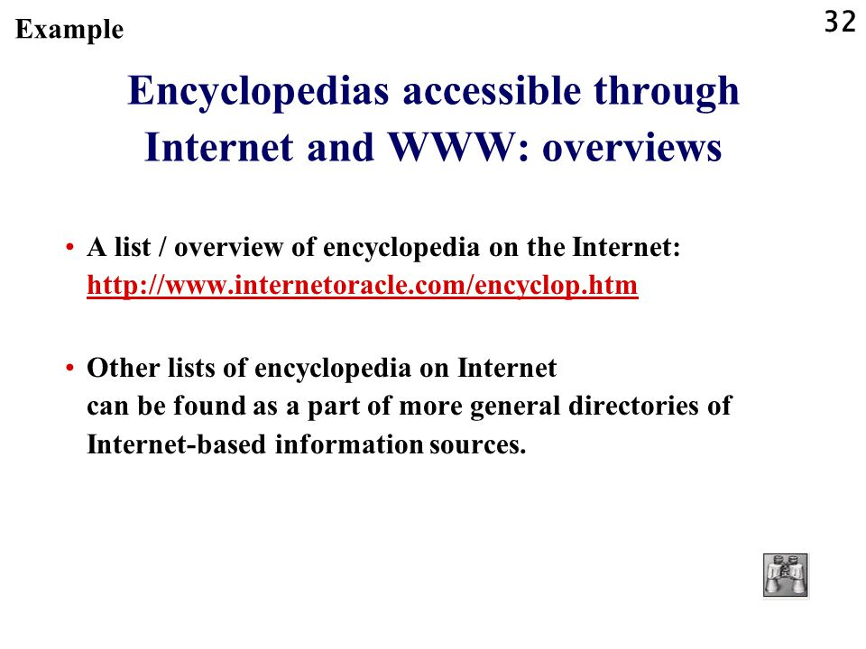 Encyclopedias accessible through Internet and WWW: overviews