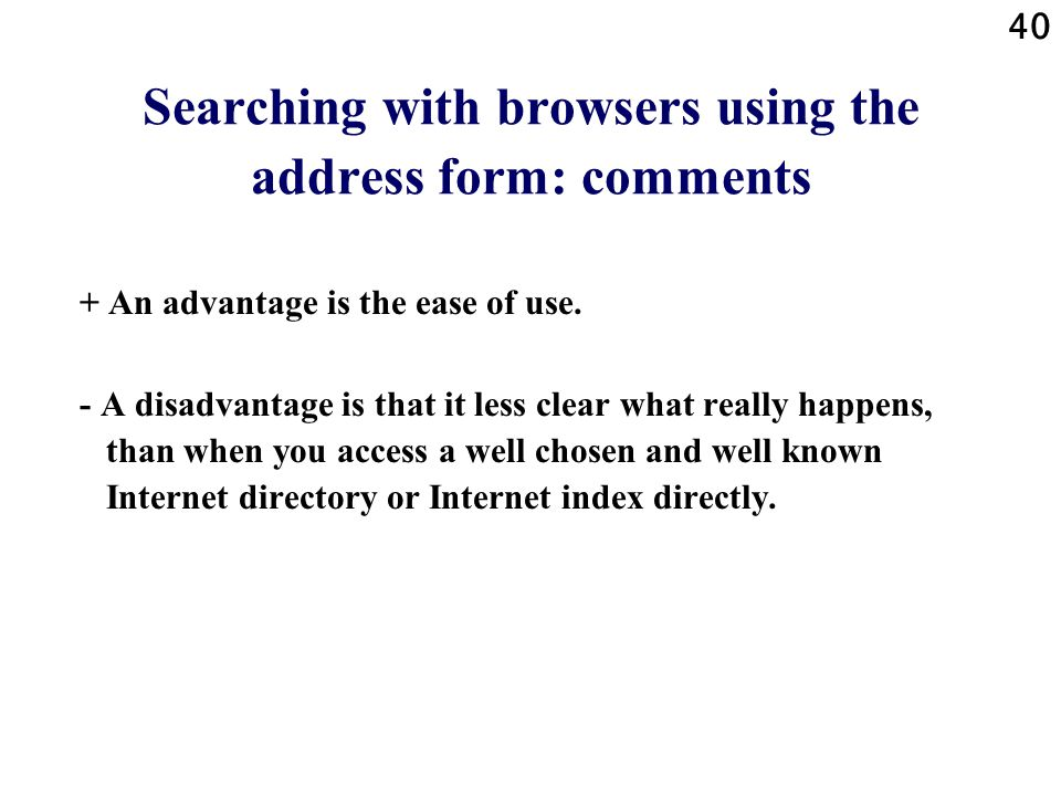 Searching with browsers using the address form: comments