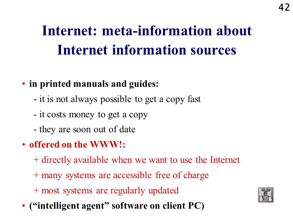 Internet: meta-information about Internet information sources