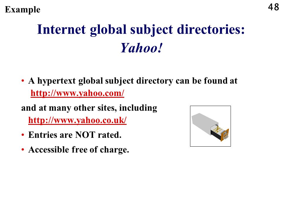 Internet global subject directories: Yahoo!