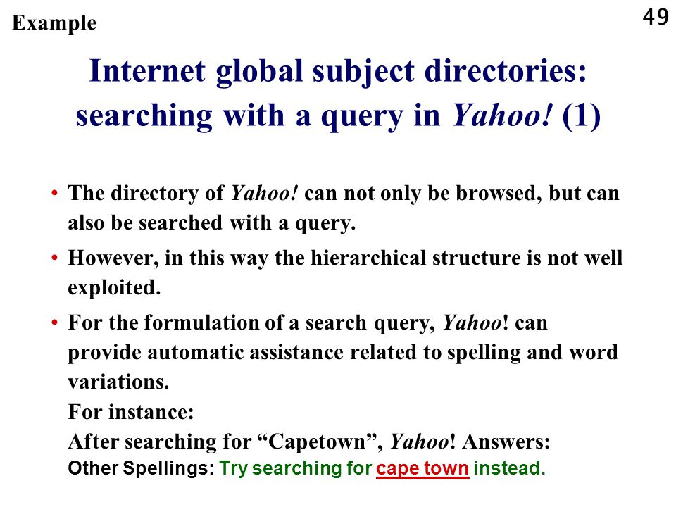 Example Internet global subject directories: searching with a query in Yahoo! (1)